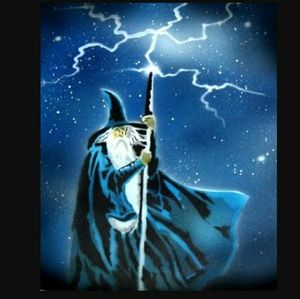 LIGHTNING WIZARD Airbrushed T-shirt Custom Made